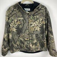 Columbia Camo Jacket Men's Size Large Green Mossy Oak Fleece Lined Zip Up Coat