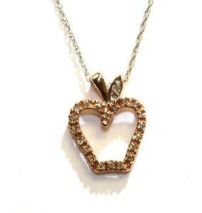"10k white rose gold .10ct diamond Big Apple NY pendant chain necklace 1.4g 18"""