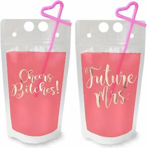16 Pack Bachelorette Drink Pouch Cups with Straws (Rose Gold) 15 oz. each NEW