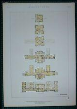 Impresión de arquitectura 1920s Nueva York Hospital Psiquiátrico Instituto plan Jones