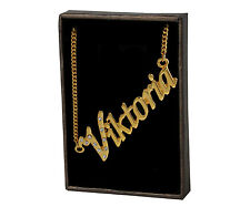 "18K Yellow Gold Plated Name Necklace ""Viktoria"" Birthday Valentines Love Gift"