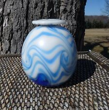CHARLES LOTTON signed 1972 - Early Blue Swirl on Opalescent Milk White VASE