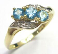 SYJEWELELRY FINE 9CT YELLOW GOLD 3 NATURAL BLUE TOPAZ & DIAMOND RING SIZE N R997
