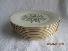 "LENOX CHRISTMAS HOLIDAY SPECIAL (8) SALAD PLATES 8-1/8"" Pottery & China New"