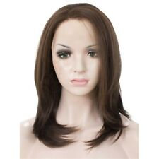US 14inch Synthetic fiber Lace front wigs  Women Short Straight Light Brown