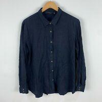 Glassons Womens Blouse Top Shirt 12 Blue Long Sleeve Collared Linen Blend