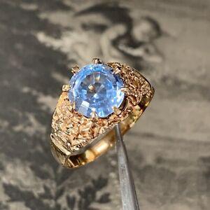 Vintage 9ct gold blue topaz ring large modernist solitaire hallmarked 1970's UKX