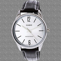 Casio Mens MTP-V005L-7B Black Analog Silver Tone Watch Leather Band New