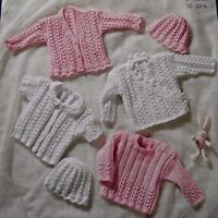 """KNITTING PATTERN -  3 STYLES OF CARDIGAN, A JUMPER AND HAT PREMATURE 12"""" - 22"""""""