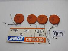 VINTAGE ELECTRONIC CAPACITOR NOS LOT OF 4 SPRAGUE CERAMIC DISC .00033 MFD 5GAT33