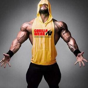 Men Bodybuilding Hoody shirt Cotton Tank top Gym Fitness Tanktop Vest Sportswear