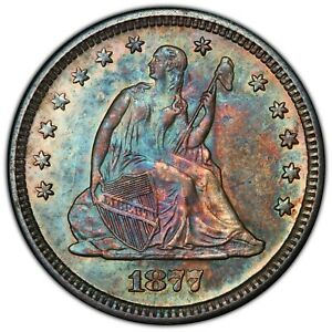1877-S Seated Liberty Quarter PCGS MS61 - STUNNING TONING - Beautiful Coin