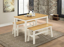 Dining Kitchen Table Bench Set Two Benches Table White Frame Natural Oak Top