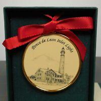 "Barlow Designs Ponce de Leon Inlet Light Lighthouse Christmas Ornament 2"" Round"