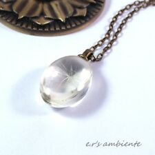PUSTEBLUME/GLAS-Anhänger inkl. MESSING-Halskette, Bronze-Vintage-Look, 0392