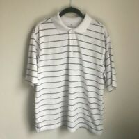 Palm Beach Golf Mens Performance Shirt Large White Black Striped Short Sleeve