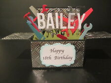Handmade card, 3D birthday Card in a box - Tools PERSONALISED