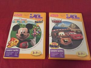 2 FISHER PRICE iXL LEARNING SYSTEM SOFTWARE Mickey Mouse 3D & CARS 2