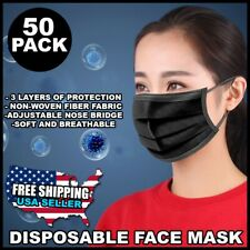50 PCS Face Mask Non Medical Surgical Disposable 3Ply Earloop Mouth Cover -Black