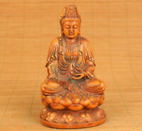 chinese old boxwood hand carving kwan-yin buddha statue figure part flaw