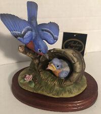Vintage Bluebird Family Figurine 8177 Andrea By Sadek 1988 Japan 2 Piece