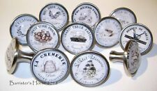 FRENCH CUISINE Food Shops, 40mm Silver, Metal Glass Drawer Knobs/Handles Kitchen