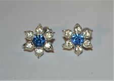Vintage Bogoff Screwback Earrings Rhinestone Flower Womens Jewelry Accessories