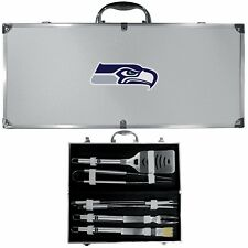 Seattle Seahawks 8 Piece Deluxe Stainless Steel BBQ Set with Case NFL Licensed