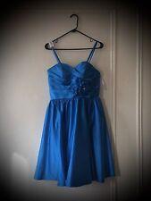 DaVinci Bridesmaid Dress, Bright Blue w/ Flower, Knee Length, Size 10
