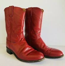 Vintage Red Leather Women's Size 7 B Justin Roper Cowboy Boots