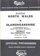 NORTH WALES v GLAMORGAN 5 Feb 1990 RUGBY PROGRAMME WELSH COUNTIES CUP SEMI-FINAL