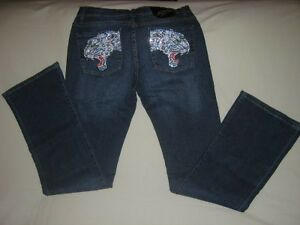 NWT ED HARDY PANTHER RHINESTONES OCEAN COLOR SIZE 28