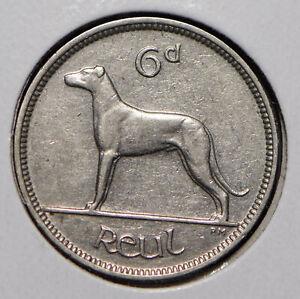 Ireland 1934 6 Pence Wolfhound animal  291709 combine shipping