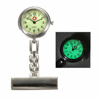 Silver Luminous Dial Nurse Doctor Brooch Clip Fob Pendant Quartz Pocket Watch
