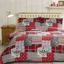 Rapport Alpine Patchwork 100% Brushed Cotton Flannelette Duvet Cover Bedding Set