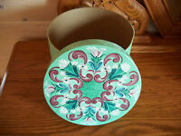 Original NORWEGIAN ROSEMALING COVERED BOX Green Burgundy & Ivory Unique Hat OOAK