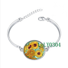 Van Gogh Sunflowers glass cabochon Tibet silver bangle bracelets wholesale