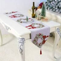 Christmas Table Runner Xmas Snowman Tablecloth Linen Cloth Cover Party Decor
