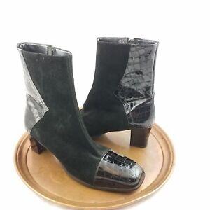 David Tate Black Faux Crocodile Print Square Toe Heel Suede High Ankle Boots 9.5