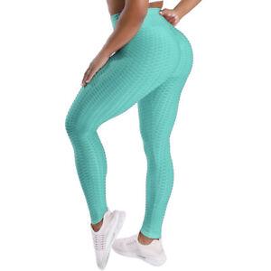 Women High Waist Yoga Pants Butt Lift Leggings Workout Ruched Gym Trousers New