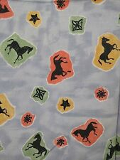 "1 Yard Horses & Stars Blue Print Fabric Cotton 56"" Wide Design No. 5271"