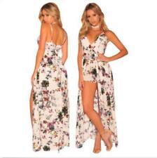 Chiffon dress Spaghetti straps dress Floral Patchwork short Romper Maxi dress