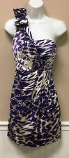 My Michelle One Shoulder Purple Animal Print Dress Size 5 Wedding Event Outfit