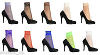 2 Pairs Ladies Sexy Colourful Fishnet Lace Trim Low Cut Ankle Socks 4-7 uk
