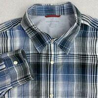 Banana Republic Button Up Shirt Mens L Blue Gray Long Sleeve Snap Closure Slim