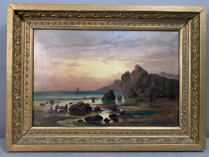 19thC Antique VICTORIAN SEASCAPE Old BEACH SCENE Sailboat Fisherman OIL PAINTING