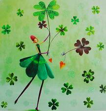 Mila Marquis**Postkarte 14x14 Glitzer**Frau mit Klee-Blättern*Grußkarte*Herz