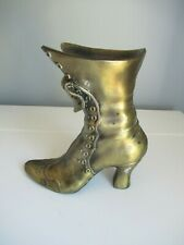 Vintage Brass Victorian Boot Fireplace Long Match Holder Doorstop Planter Vase