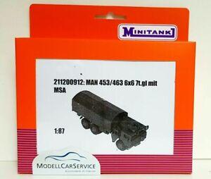 Minitank (H0): 211200912 Man 453/463 Truck 7t. 6x6 Gl Flatbed / Plane With Msa