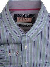 THOMAS PINK Shirt Mens 16 M Blue - Purple Green & White Stripes